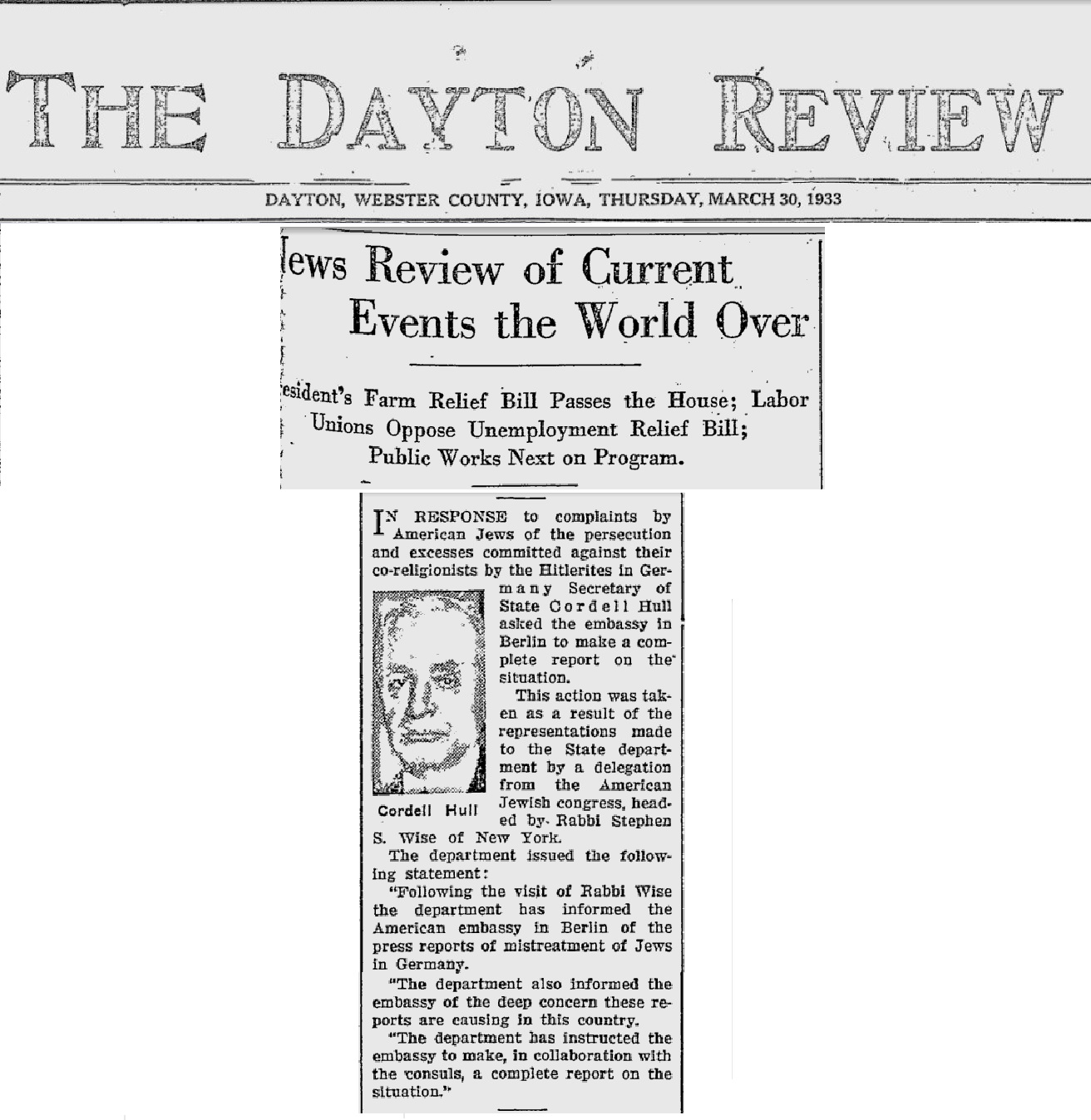 Holocaust - The Dayton Review - Mistreatment of Jews reported Stephen S. Wise Investigation by Cordell Hull.jpg