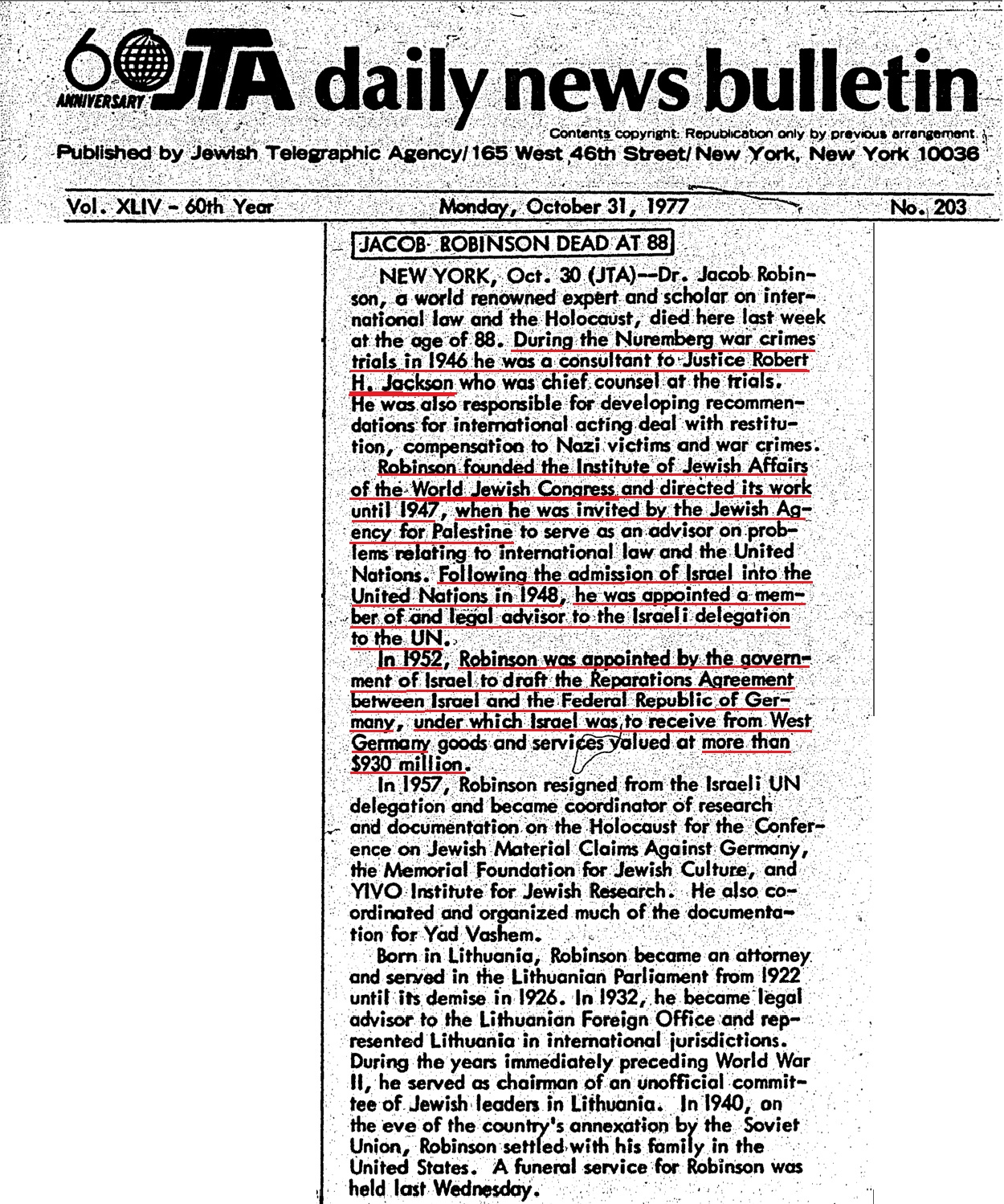 Holocaust - JTA - October 1977 - Zionist Jacob Robinson consultant to Robert Jackson at Nuremberg.jpg