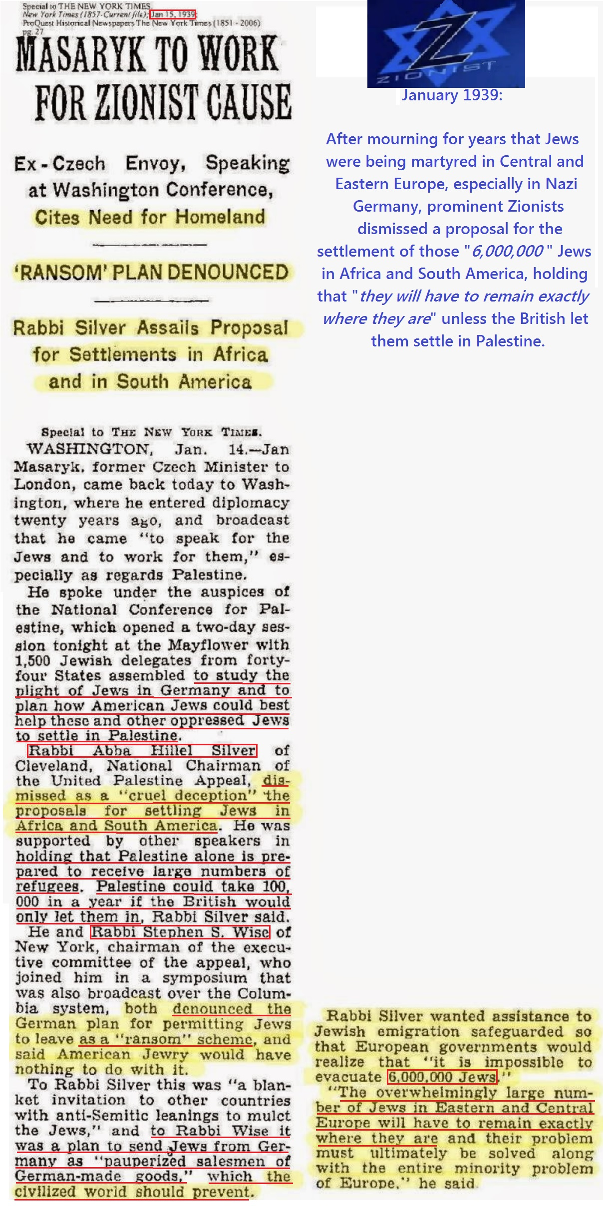 Holocaust - The New York Times - January 1939 - Zionist Rabbi Silver and Rabbi Wise refuse to let settle 6 million Jews in Africa and South America, only in Palestine.jpg