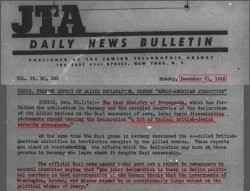 Holocaust - JTA - December 1942 - Allied declaration on the extermination of Jews 'a bit of typical British-Jewish atrocity propaganda'.jpg