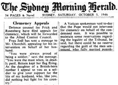 Frau Jodl appeals for clemency from Churchill - Oct 5 1946 - Syndney Morning Herald.png
